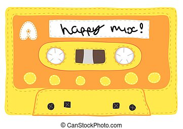 Vintage cassette tape stitched together - Retro knitted soft...