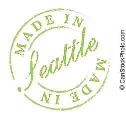 Made in Seattle eco stamp Disstressed natural rubber stamp...