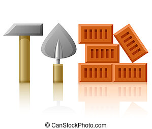 building tools hammer trowel and bricks illustration,...