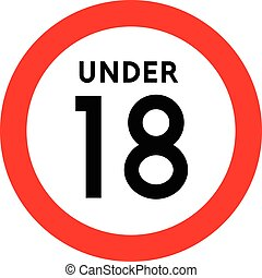 Under eighteen sign Isolated on white background