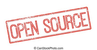 Open Source red rubber stamp on white Print, impress,...
