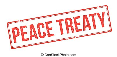 Peace Treaty red rubber stamp on white Print, impress,...