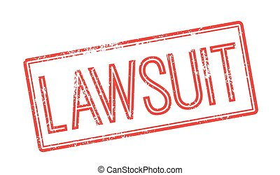 Lawsuit red rubber stamp on white. Print, impress,...