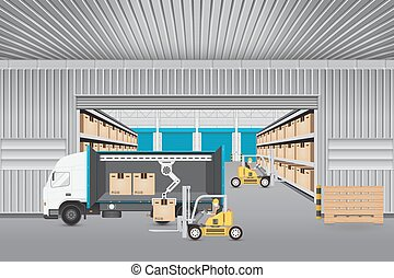 Logistics transportation vector - Forklift working with...
