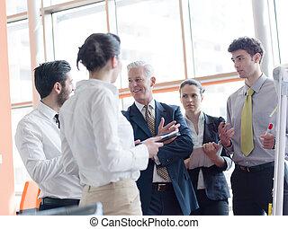 grupo, poniendo común, empresa / negocio, gente