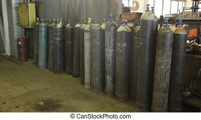 Acetylene and gas steel storage tanks for welding.Bottled...