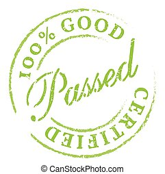 Passed Green rubber stamp on white Print, impress, overprint...
