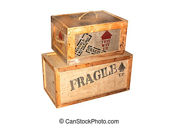 fragile wooden packing cases with lettering on