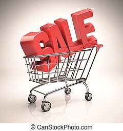 Shopping Cart Sale - 3D image concept Sale word in red...