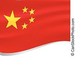 China wavy flag on white background