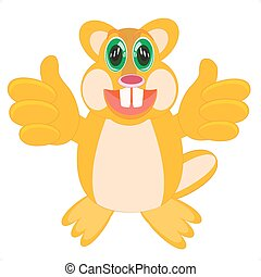 Cartoon animal beaver - Vector illustration of the beaver on...