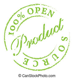 Open Source green rubber stamp on white Print, impress,...
