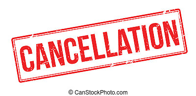 Cancellation red rubber stamp on white Print, impress,...
