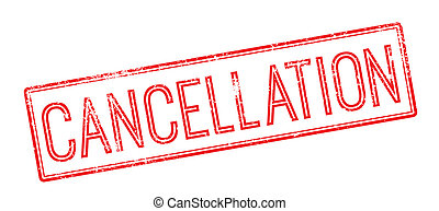 Cancellation red rubber stamp on white. Print, impress,...