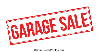 Garage Sale red rubber stamp on white Print, impress,...