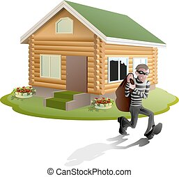 Thief robbed house. Man robber running with bag. Property...
