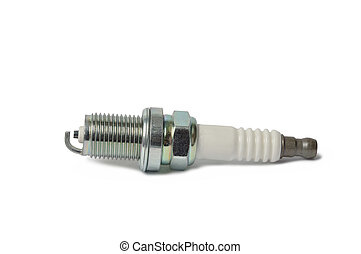 Spark Plug - Macro of spark plug isolated on white...