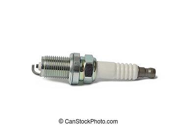 Spark Plug - Macro of spark plug isolated on white...