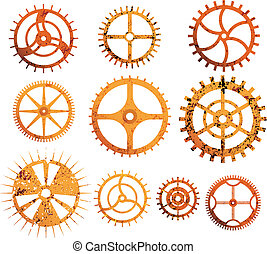 Rusty gears collection - Set or different design gears with...