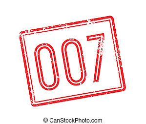 007 red rubber stamp on white Print, impress, overprint