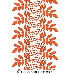 Seamless ashberry autumn pattern with rowan berries and...