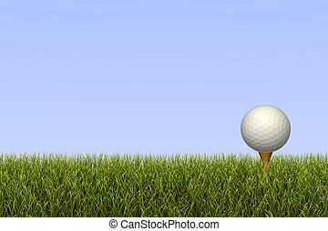Golf Ball on Tee - Golf ball on a tee against a grass and...