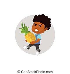 Boy harvesting giant pineapple