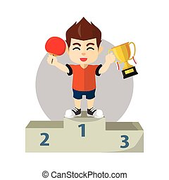 Boy winning ping pong champion ship