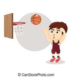 Boy shooting basket ball