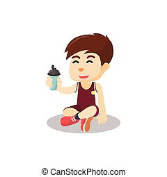 Boy drink water after sport activity