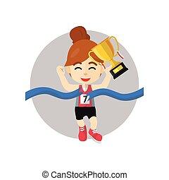 Girl winning race