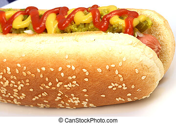 hot dog against white background with onions,...