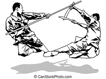 Kung-Fu Fighters Sketch - Black and White Illustration,...