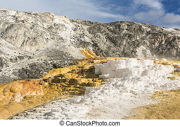 Terraces - Vivid thermal terraces rock formations in Mammoth...