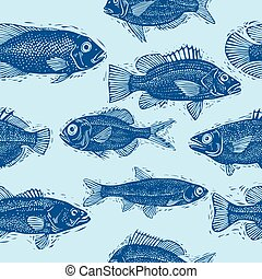 Vector seamless sea pattern, different fish silhouettes Art...