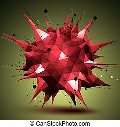 Abstract 3D structure polygonal network object, red deformed...