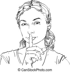 Vector art drawing, portrait of peaceful girl making a hush...