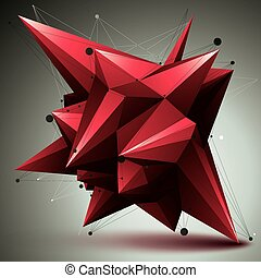 Asymmetric 3D abstract red object with connected lines and...