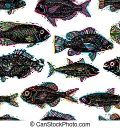 Vector seamless pattern with fishes, different species...