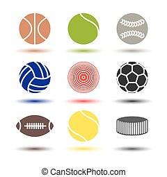 Icons balls, vector illustration - Colored icons of various...