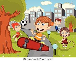 CÙte, gioco, bambini, pattino, cartone animato, Felice