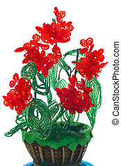 Vase with flowers from color glass beads