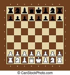 Brown and yellow vector chess board