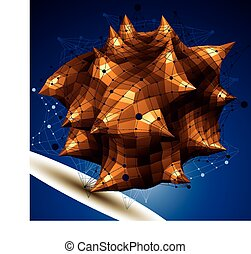 Abstract asymmetric vector golden object with lines mesh,...