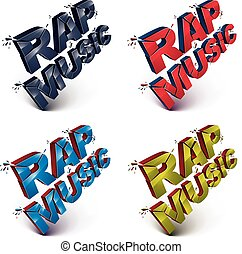Set of 3d shattered vector rap music words created with...