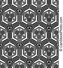 Graphic seamless abstract pattern, regular geometric black...
