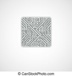 Vector microchip design, cpu. Information communication technology element, circuit board in the shape of square.