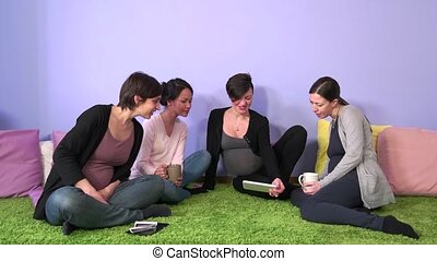 Group Of Pregnant Women Friends Mom - Pregnant women, group...