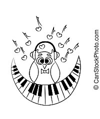 coloring with owl with piano. vector