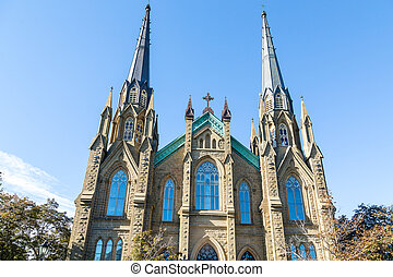 Gothic Spires on Ornate Church - Old Stone Church in...
